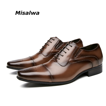 Misalwa Triple Joint Handcrafted Men's Genuine Leather Formal Shoes Cap Toe Oxford Italian Carved Dress Shoes for Business Men goodyear manmade shoes wear business bovine custom made shoes genuine three joints carved tip round toe formal pointed toe ankle