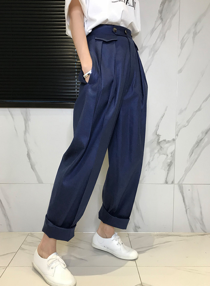New Fashion Loose Button Solid Flat   Wide     Leg     Pants   Casual Women spring Hot Sale Trendy High Quality Bottoms