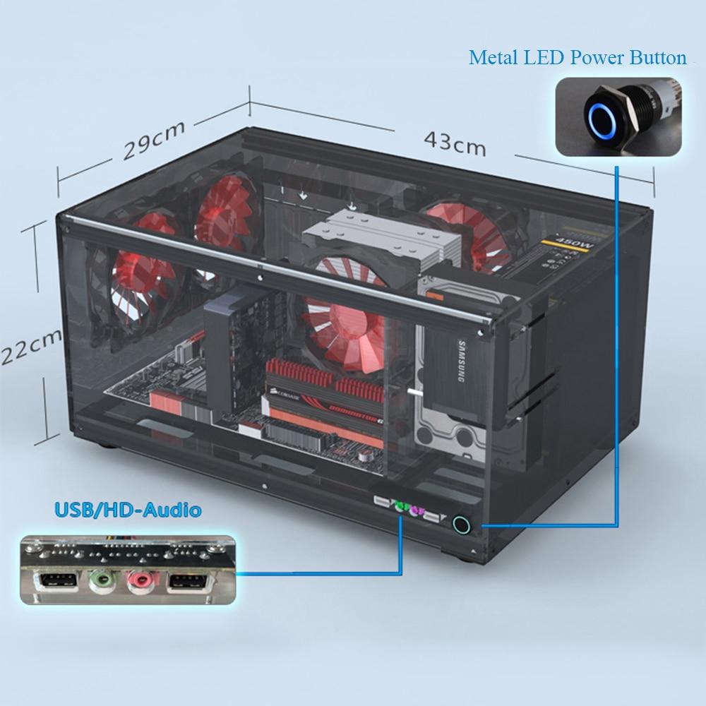 Horizontal Computer Case Support ATX MATX ITX Motherboard DIY Desktop Cases Acrylic Transparent PC Cases 2