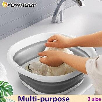Многофункциональная складная раковина 3 размера, портативная легкая подвесная Складная посуда, инструмент для путешествий, пешего туризма, кемпинга, пикника, уборки|Пластиковые и портативные тазы|   | АлиЭкспресс
