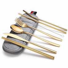Gold Tableware Case Travel Stainless Steel Cutlery Gold Straw Chopsticks Fork Spoon Knife Set Cutlery Tableware Cutlery Gift Set portable bamboo korean cutlery set wooden tableware knife fork spoon set with eco friendly bamboo straw for travel cutlery set