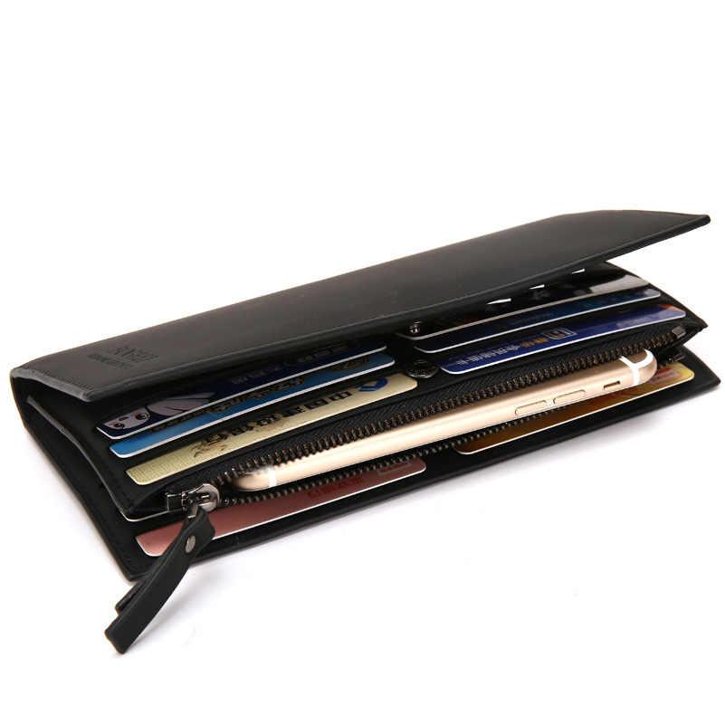 Кожаные кошельки для мужчин, длинный клатч, держатель для кредитных карт, Мужской винтажный двойной кошелек на молнии, карман для телефона, мужская сумка для денег
