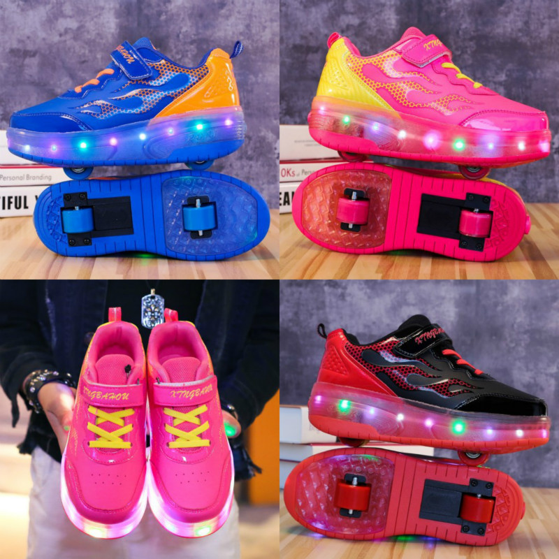 RISRICH Kids LED Roller Shoes Wheelie Glowing Luminous Light Up Sneakers With On Wheels Kids Rollers Skate Shoes For Boys Girls