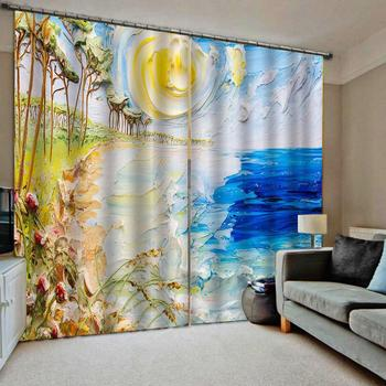 3D Window Curtain Living Room Oil Printing sea landscape Photo Curtains For Kitchen Door Thick Blackout Drapes
