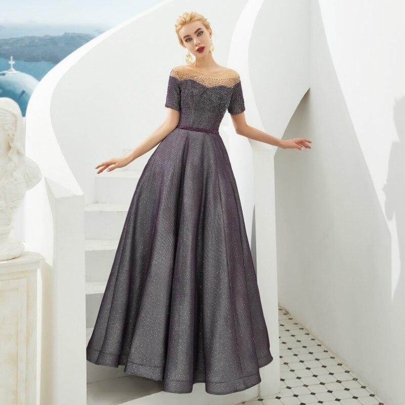 Rhinestone Strapless Illusion Wedding Dress Satin Belt Short Sleeves Net Lace Up  Bridal Gown Dress