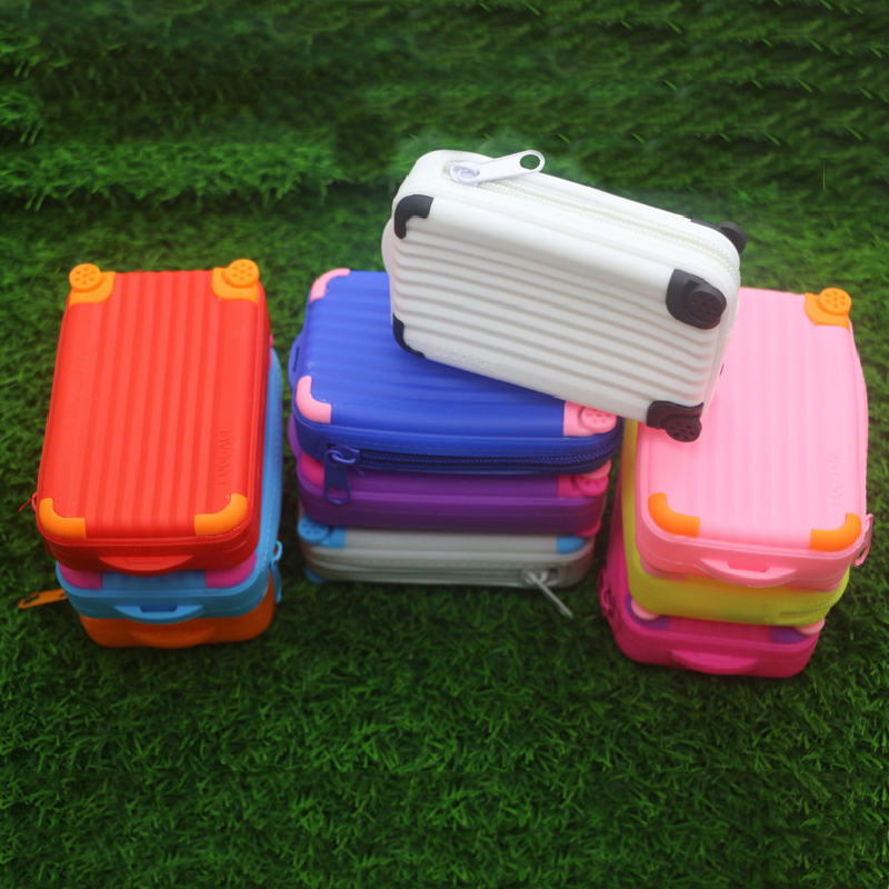 Silicone Coin Purse Suitcase Card Bag Candy Color Waterproof Small Soft Zipper Storage Bag Girls Cute Funny Coin Purse Wallet