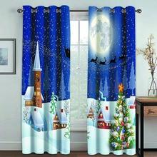 Curtain Waterproof Merry-Christmas Bedroom Living-Room Snowman-Decoration Fabric Printing