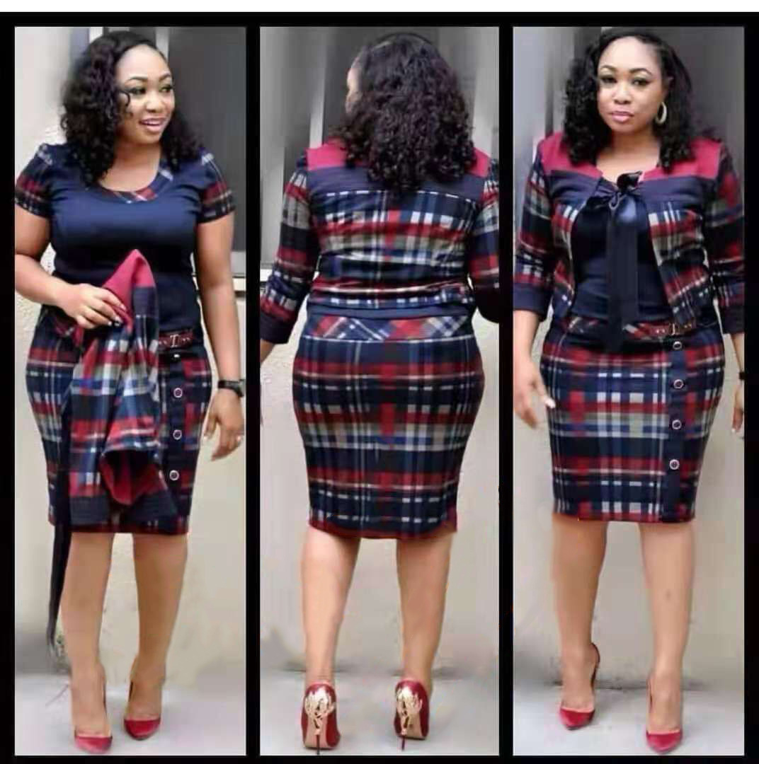 Women Plus Size 4XL Office Work 2 Piece Set For Lady Plaid Print Short Sleeve Dress Elegant Casual Two Piece Outfits Clothes