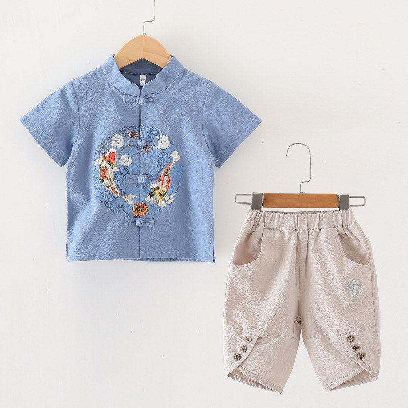 Ethnic-Style BOY'S Cotton Linen Set Children Chinese Culture Service Chinese-style Childrenswear Summer Chinese Clothing Girls B