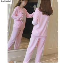 Flannel Breastfeeding Maternity Pajamas Autumn Winter Velvet Thicken Nursing Materniad Dormir Pyjamas  Women Clothes D0046