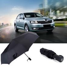 Black Portable Umbrella Folding Rain Parasol For Skoda Octavia Pro Superb Kodiaq Citigo Vision Automatic Business Umbrella Logo