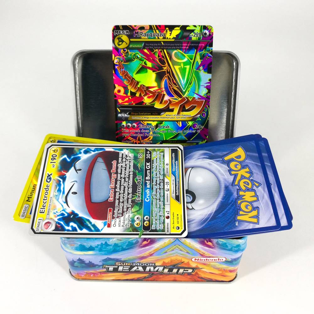 Takara Tomy TCG Pokemon Card MEGA Trainer Energy SUN MOON TEAM UP Collection Board 42 Cards Toys Flash Card Metal Box For Kids