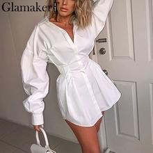 Glamaker rękaw w kształcie skrzydła nietoperza biała mini sukienka kobiety urząd lady plisowana bluzka koszula sukienka jesień wysoka talia przylegająca elegancka krótka sukienka tanie tanio COTTON Elastan Draped Proste G19DR3433 Sexy Club Skręcić w dół kołnierz Naturalne Pełna Solid REGULAR Powyżej kolana Mini
