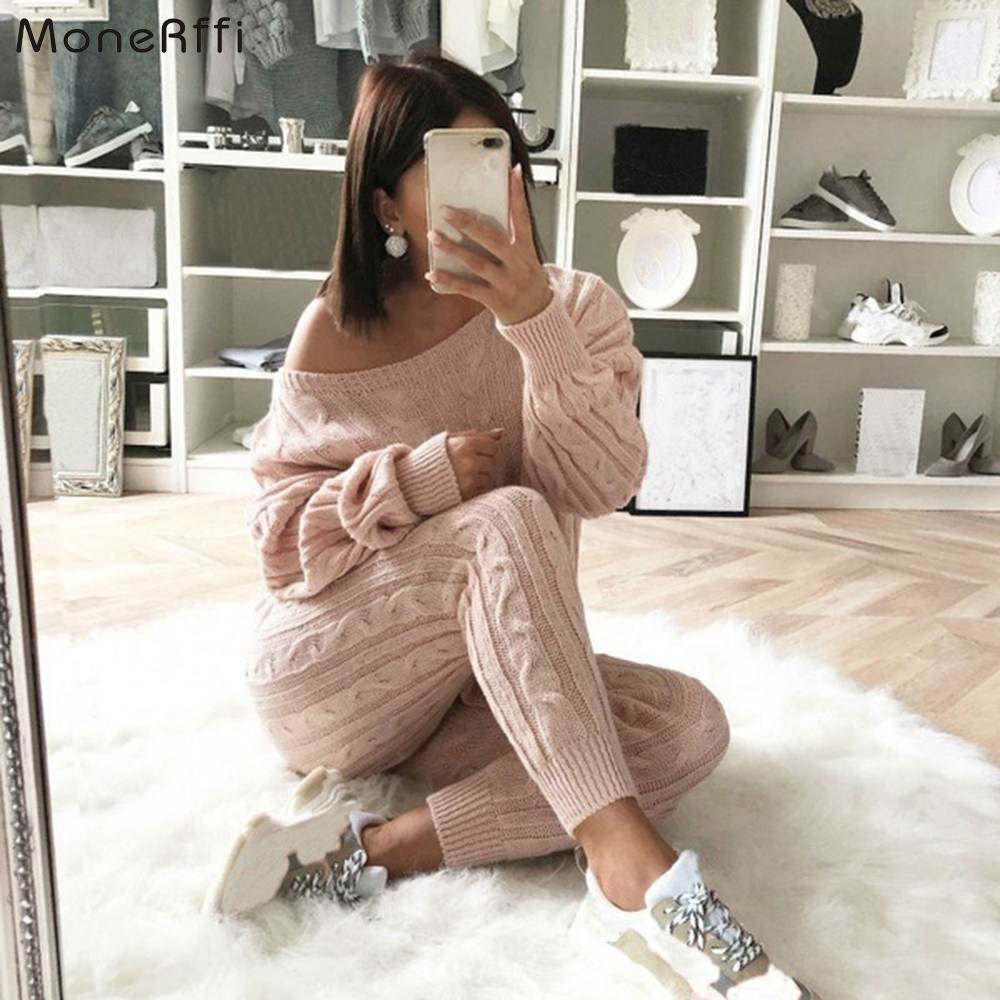 MoneRffi New Autumn Cotton Tracksuit Women 2 Piece Set O-Neck Sweater Top+Elastic Waist Pant Knitted Suit Women Coat 2 Piece Set