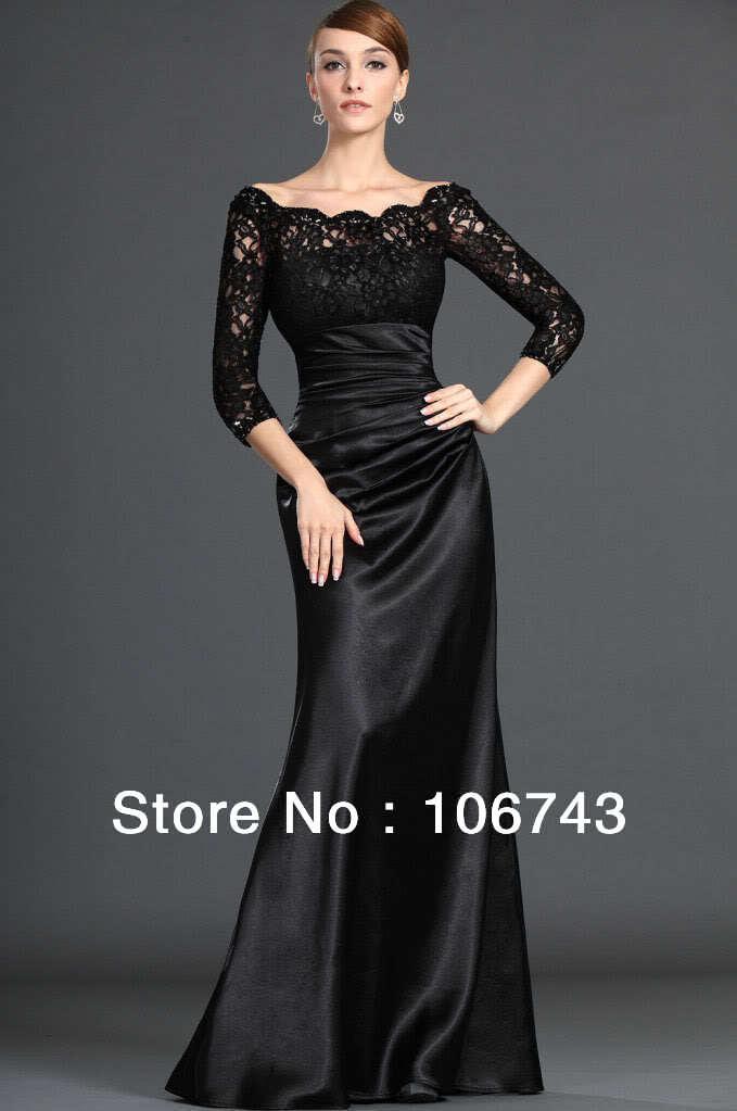 Free Shipping 2018 Black Lace Long-Sleeve Prom Evening Gown Custom Vestido De Noiva Robe De Soiree Mother Of The Bride Dresses