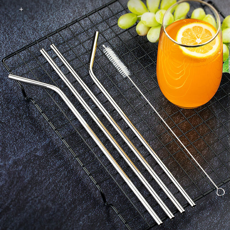 Hot Sale Reusable Metal Drinking Straw High Quality 304 Stainless Steel Sturdy Bent Straight Drink Straws With Cleaner Brush
