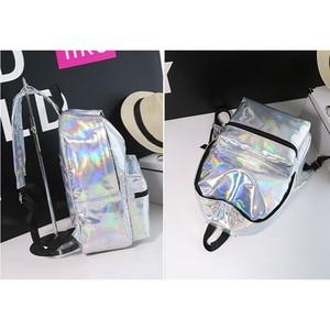 Image 4 - Laser Backpack Women Fashion Travel Bags 2019 Backpack New Women Backpack PU leather Holographic Backpack Girls Shoulder Bag