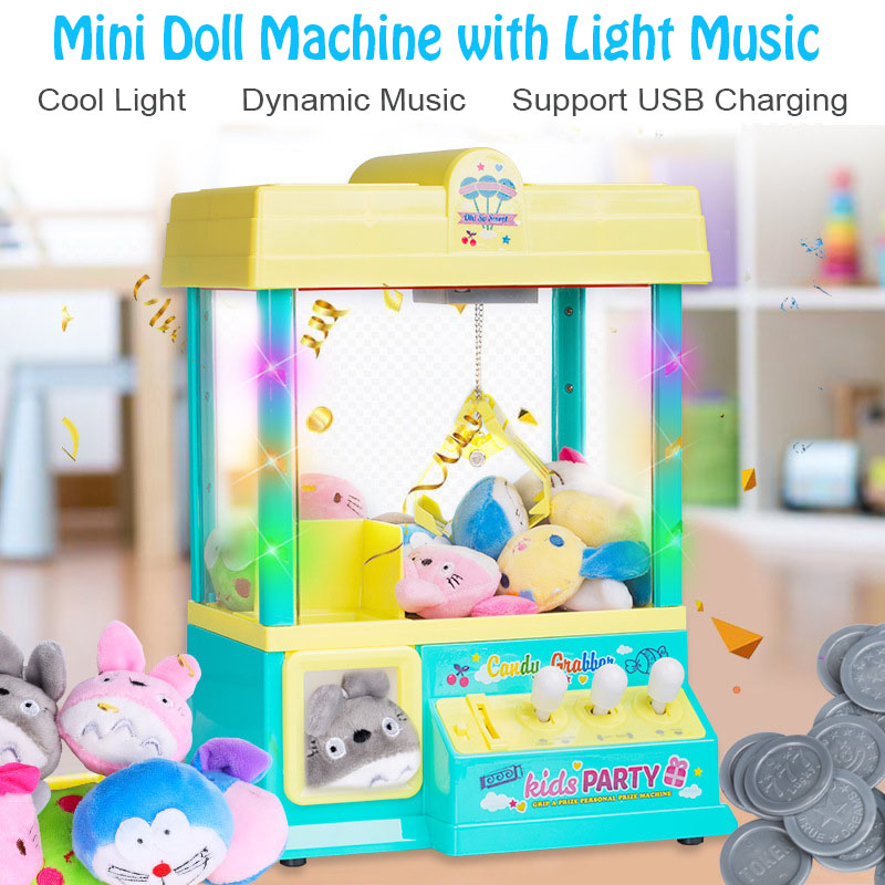 Childrens Toy Household Clip Doll Coin Mini Small Grab Doll Machine With Dolls Coins Best Gift For Kid