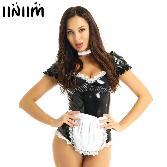 เซ็กซี่ฮาโลวีนเครื่องแต่งกายสำหรับผู้หญิงภาษาฝรั่งเศสแม่บ้านCOSPLAY Uniform Sweet HeartหนังLeotard BodysuitชุดLatexแม่บ้านเสื้อผ้าFemme