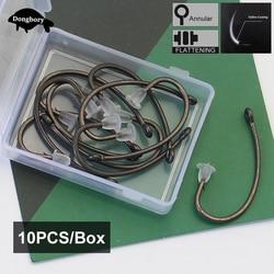 10PCS/Box High Carbon Steel Carp Hooks Baitholder Fishing Hook Jig Head Barbed Curve Shank Gripper Fishhooks Fit for Competition