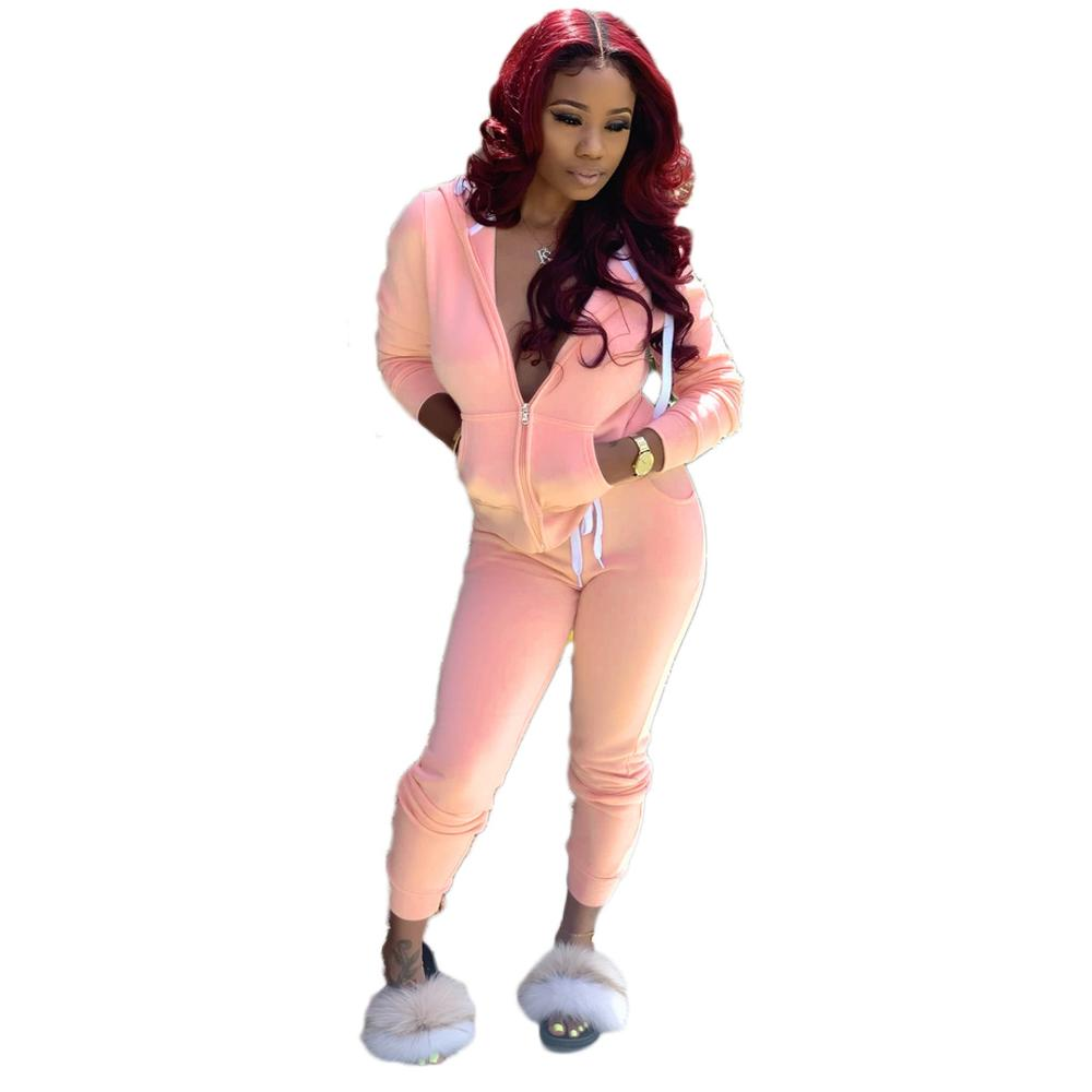 Adogirl Solid Women Casual Two Piece Set Tracksuit