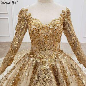 Image 4 - Altın lüks uzun kollu o boyun gelinlik 2020 Dubai boncuk Sequins High end gelin elbise HX0130 custom Made
