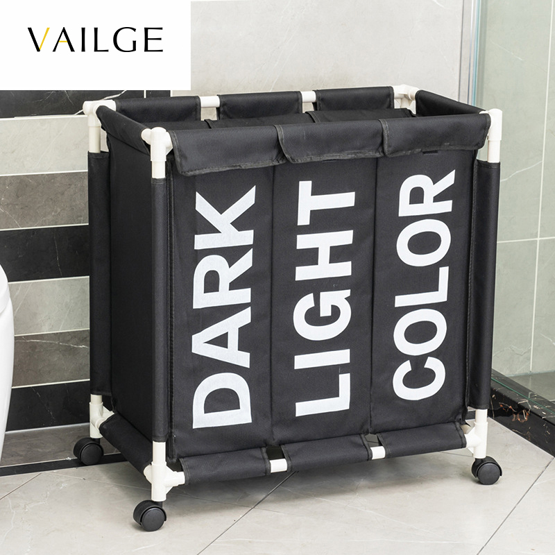 Organizer Hamper-Bin Clothes-Storage-Box Laundry-Bags Wheels Rolling Dirty Large 3-Grid title=