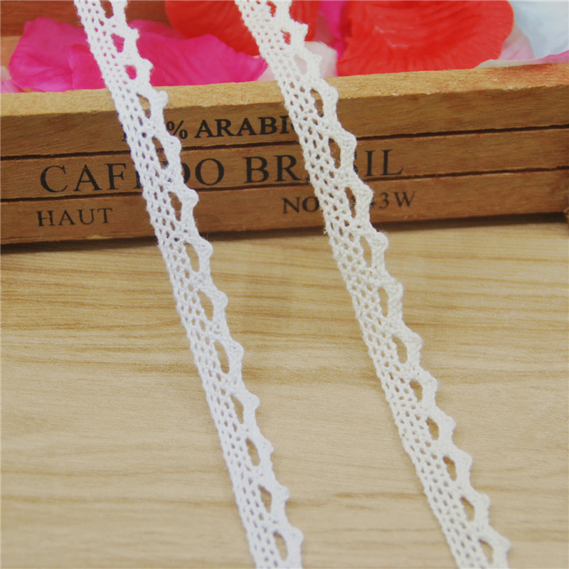 FASMILEY Wholesale 12mm Cotton Lace Trim Ivory White Net Lace Ribbon DIY Lace Fabric Trimmings Lace Applique 600 yards LC001 AA-in Lace from Home & Garden    1