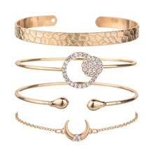 Hello Miss Fashion Moon Shaped crystal Bracelet Womens Set New Multilayer Clothing Matching Jewelry