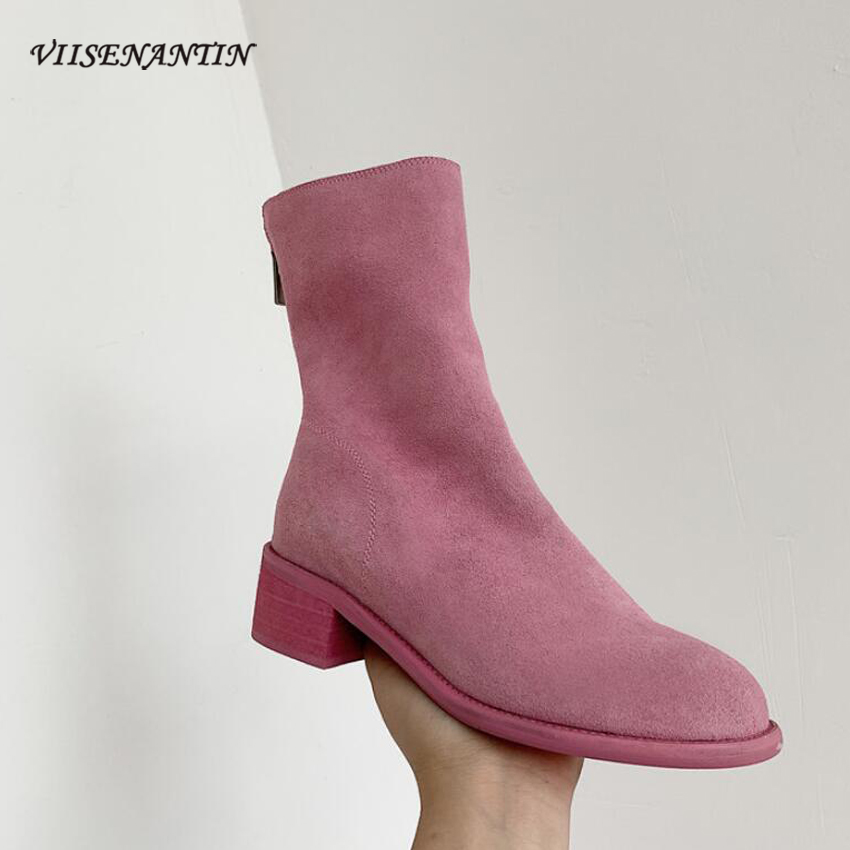 VIISENANTIN New Boots Frosted Leather Ghost Boots Thick Heel Pink Martin Boots After The Zipper Boots Women's Tide Shoe Fashion