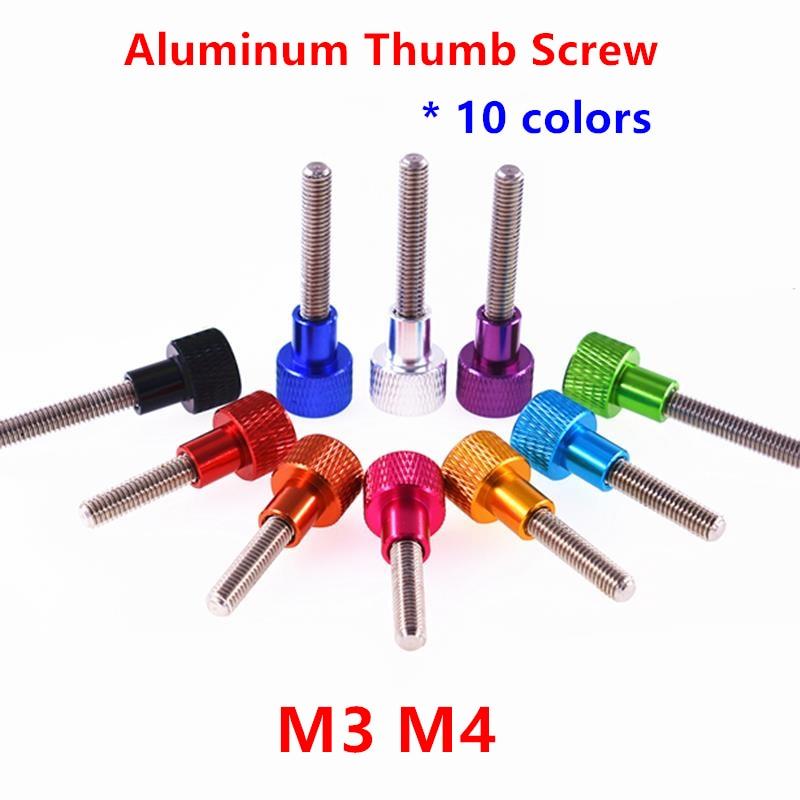 10 шт./5 шт. Алюминиевый винт для большого пальца M3 M4 алюминиевая накатанная головка из нержавеющей стали ручные затягивающие винты для больш...