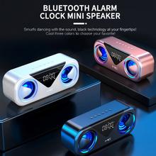 MC-H9 głośniki z Bluetooth wyświetlacz LED przenośny Spakers bezprzewodowy bas Stereo obsługa karty TF AUX USB inteligentny Alarm nastrojowe oświetlenie tanie tanio centechia Wejście optyczne Półka na książki NONE Z tworzywa sztucznego DWUKIERUNKOWE 2 (2 0) CN (pochodzenie) 400-499 W