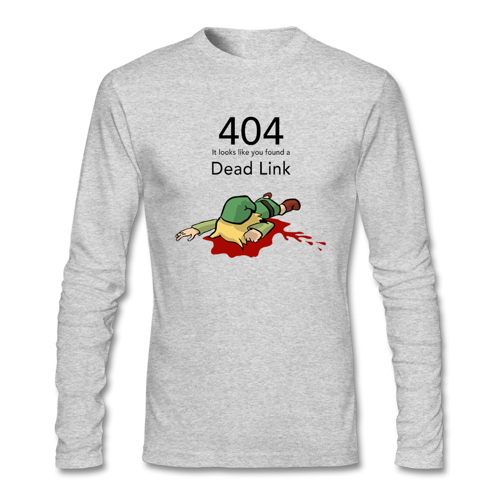 <font><b>Error</b></font> <font><b>404</b></font> Zelda Dead Link T <font><b>Shirts</b></font> Men Brand <font><b>Shirts</b></font> For Homme Long Sleeved Cotton Crew Neck image