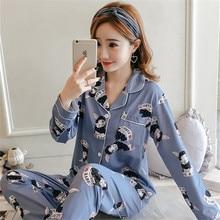 Pijamas femininos para lazer, meninas, grande, 2 peças, pijamas femininos, outono, inverno, manga longa, estampado, bonito, sleepwear, 2019
