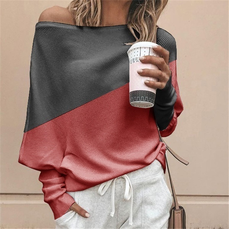 Autumn Winter Clothes Women Plus Size S-5XL Casual Shirts O Neck Patchwork Batwing Sleeve Pullovers Off Shoulder Female T-shirts 23