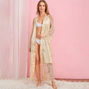 Image 5 - Ellolace 2019 Summer 4 Colors Lace Nightgowns Women Long Sleeve Fashion Sexy Silk Nighty Large Home Clothing With Belt Sleepwear