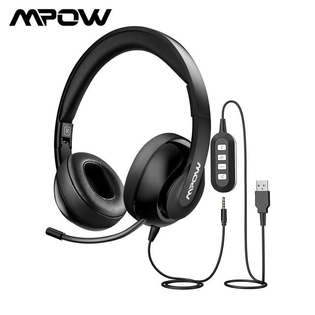 Mpow HC4 Over EarหูฟังตัดเสียงรบกวนคริสตัลClearไมโครโฟนชุดหูฟังAUX & USBปลั๊กสำหรับPC/iPad/แท็บเล็ต