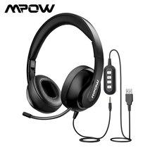 Mpow HC4 aşırı kulak kulaklık iptal gürültü ile kristal net mikrofon katlanabilir kulaklık AUX ve USB fişi PC/iPad/Tablet