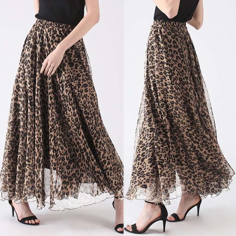 ZANZEA 2020 Leopard Print Skirts Women's Maxi Vestido Summer Elastic Waist Faldas Saia Female Beach Casual Robe Femme Plus Size