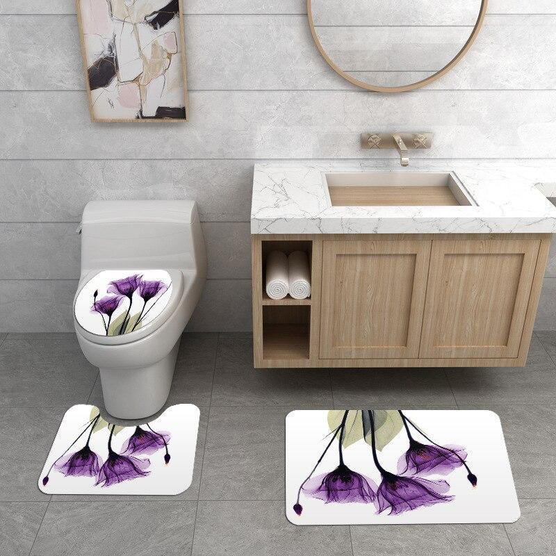 Занавеска для душа с мраморным принтом, 4 шт., покрытие для ковра, покрытие для унитаза, набор ковриков для ванной, занавеска для ванной комнаты с 12 крючками - Цвет: 3 sets