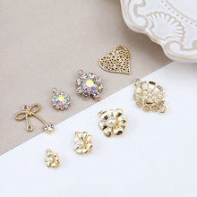 10pcs Wholesale Jewelry Fashion Alloy Pearl Flower Bow Pendant heart-shaped  Statement Earrings For Girls Material Accessories 2018 the new heart pearl pendant fashion simple earrings long pearl heart shaped earrings girl party accessories