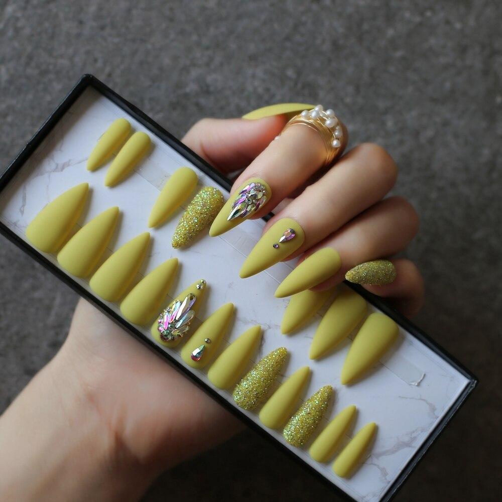 Azeitona verde salão stiletto unhas falsas, diy,