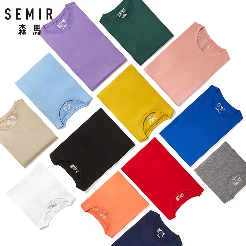 SEMIR summer cotton T shirts men 2021 simple o neck stretch solid new tops clothing casual tshirt man streetwear cool tee shirts 3
