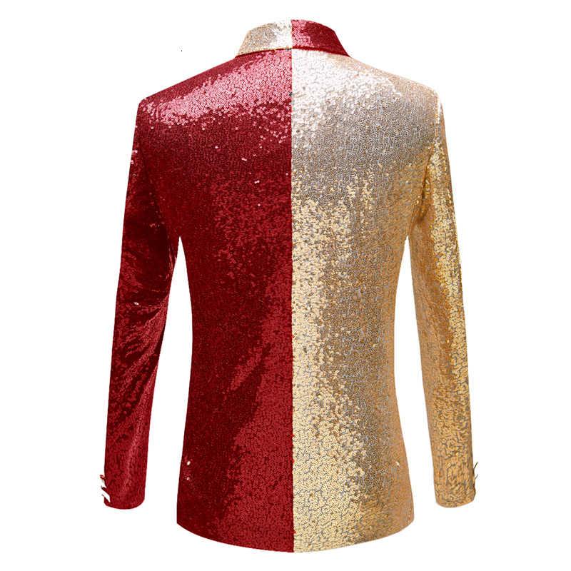 PYJTRL nowych mężczyzna pół kolory złoto czerwone czarne cekiny Slim Fit Blazers klub nocny piosenkarki cekiny marynarkę szal Lapel ubrania imprezowe