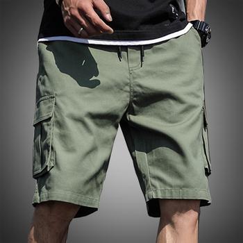 Męskie szorty zieleń wojskowa szorty Cargo mężczyźni bawełniane letnie szorty na co dzień bermudy krótkie szorty spodnie Plus rozmiar 4XL 5XL 6XL 7XL tanie i dobre opinie DUOFIER W stylu Safari COTTON Kolano długość Sznurek Stałe REGULAR Luźne Kieszenie KCD695 KCD696