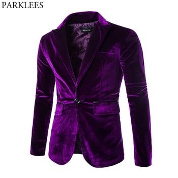 Shiny Purple One Button Velvet Blazer Jacket Men 2020 Spring New Slim Fit Club Party Wedding Dress Blazers Male Masculino - discount item  50% OFF Suits & Blazer
