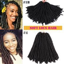 Braiding Hair-Extensions Crochet 14inch Mtmei-Hair Faux-Locs Brown Soft Synthetic Black