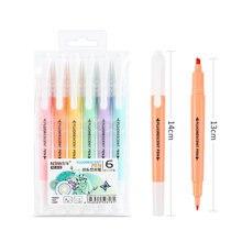 6 шт/компл флуоресцентная ручка с двойной головкой многоразовая