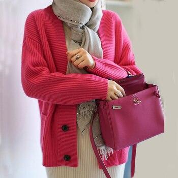 цена Cashmere Cardigan Women's Thicken Loose V-neck Sweater Jacket Women's Korean Cardigan Knit Cardigan Women онлайн в 2017 году