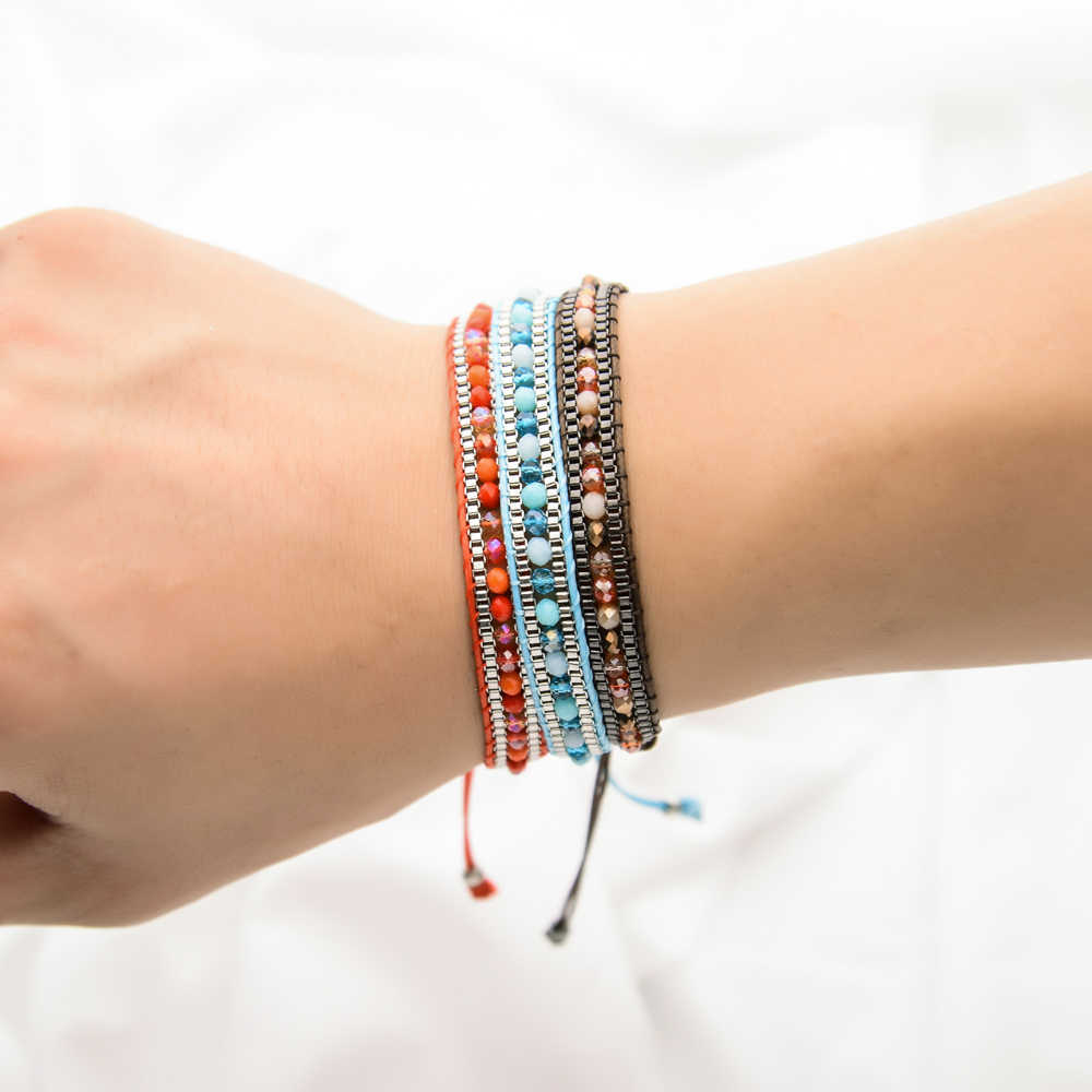 Lubingshine 女性男性ハンドメイドボヘミア織り調節可能なロープチェーンクリスタルチャームブレスレットリストバンドファッション宝石類のギフト